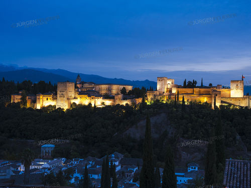 Alhambra with evening twilight